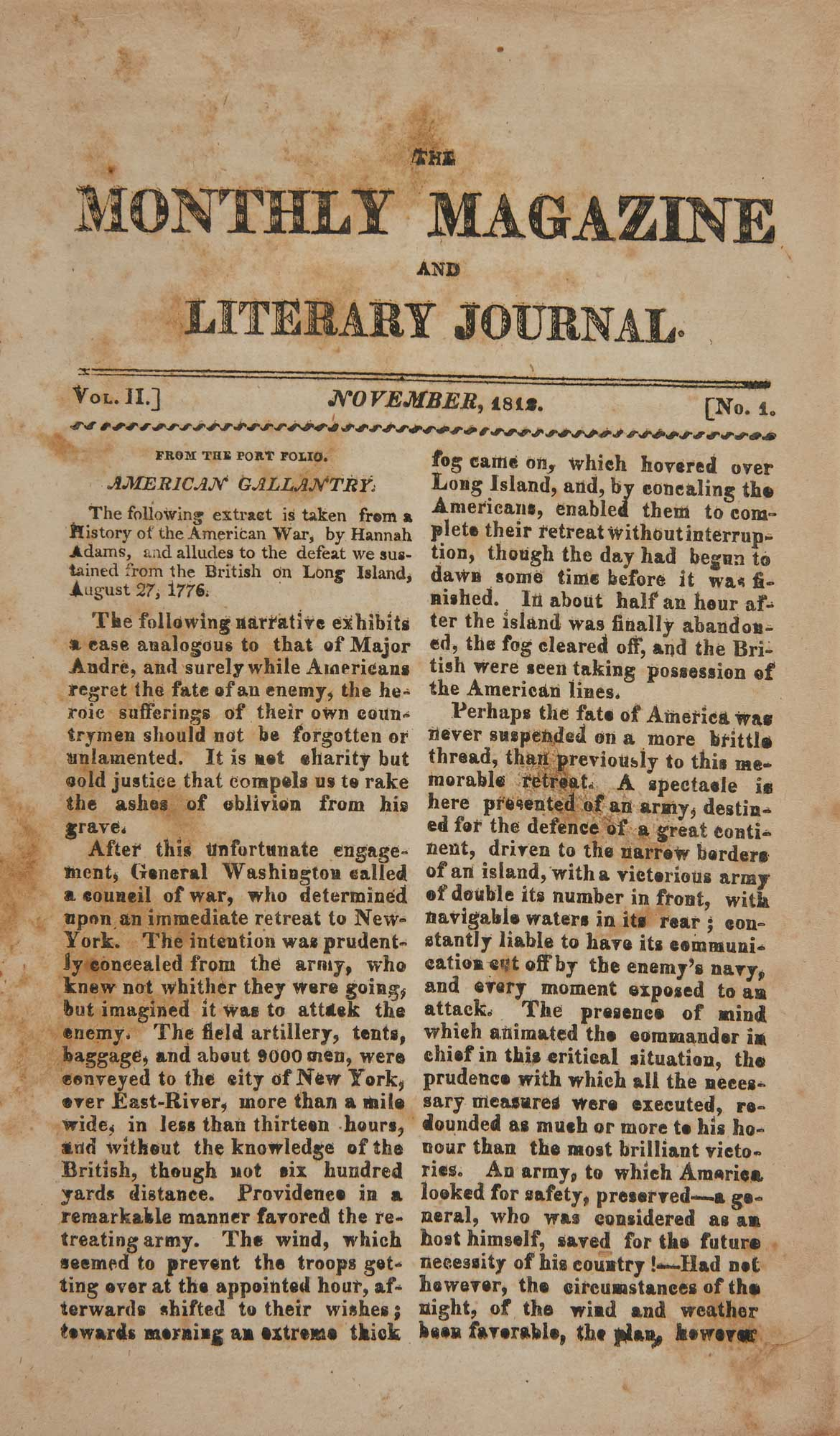Lot image - [EARLY VIRGINIA IMPRINT]  The Monthly Magazine and Literary Journal.