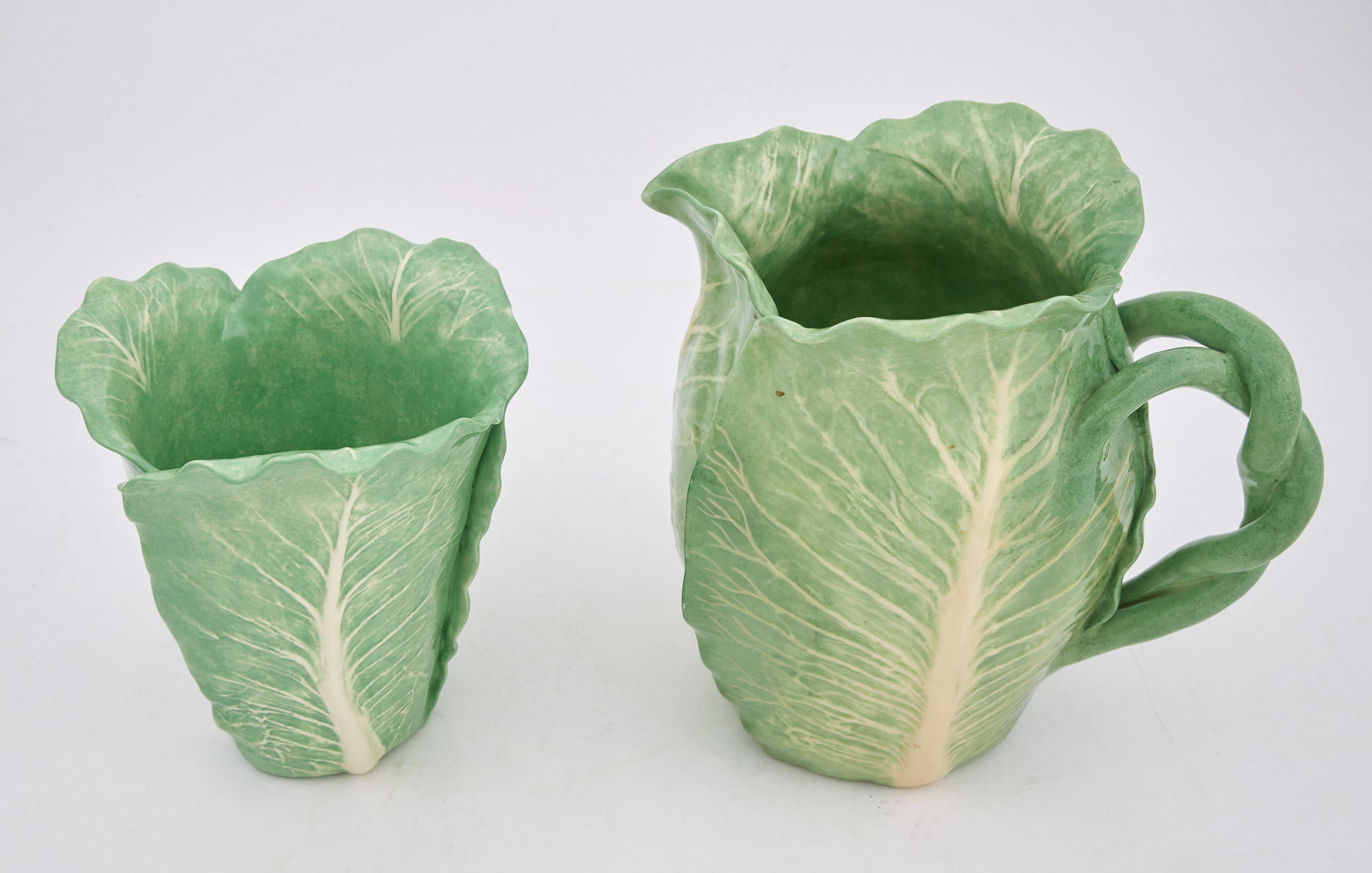 Lot image - Dodie Thayer Glazed Pottery Cabbage-Form Pitcher and Vase