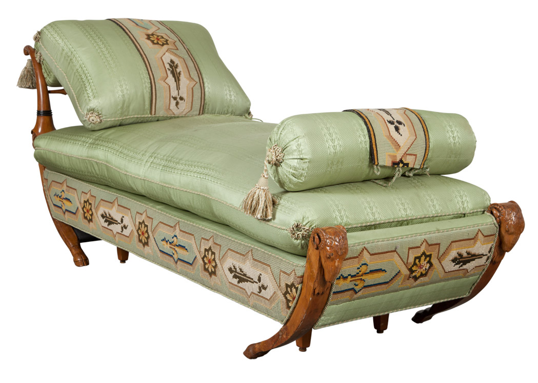 Lot image - Neoclassical Style Silk Upholstered Walnut Chaise Longue