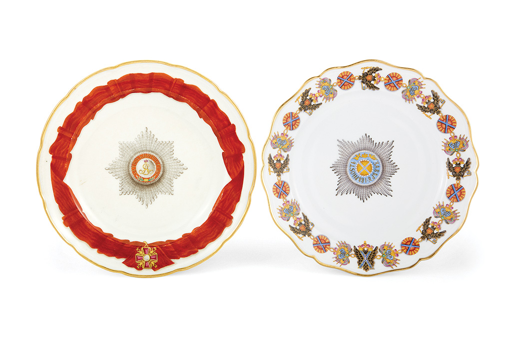 Two Russian Porcelain Dinner Plates From The Orders Of St