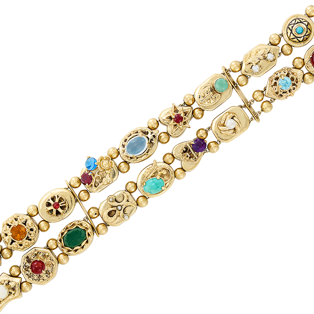 Lot image - Two Row Gold and Colored Stone Slide Bracelet
