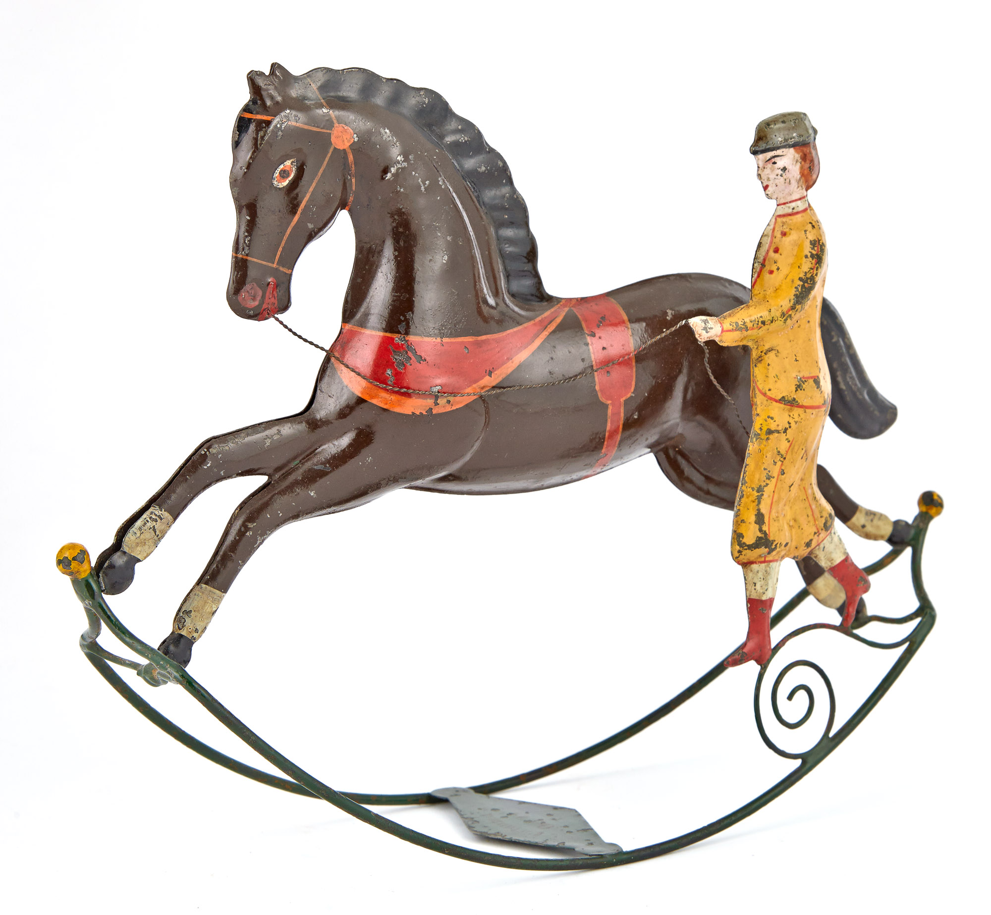 Lot image - Rocking Horse with Trainer Tin Toy