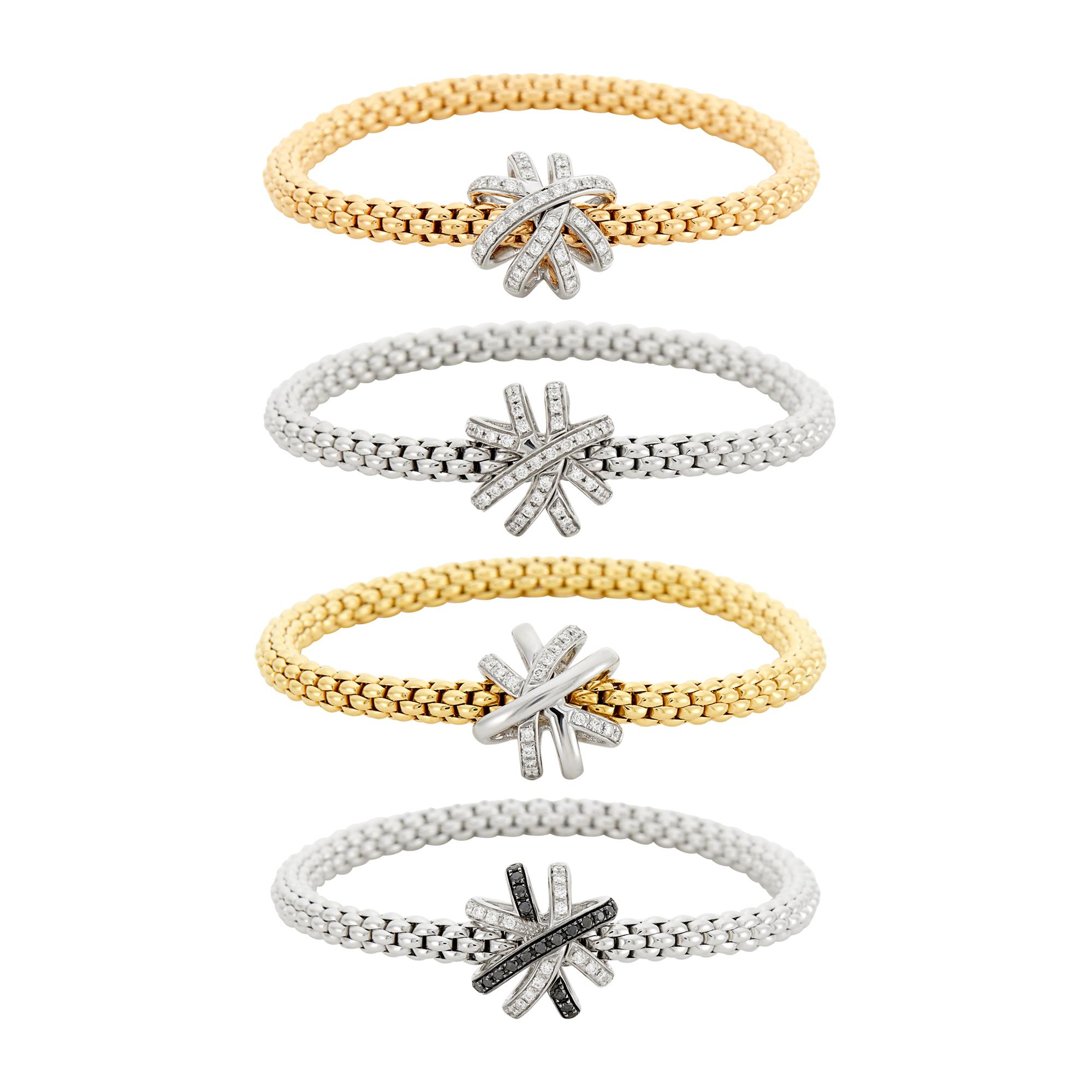 Lot image - Fope Four Yellow, White and Rose Gold, Diamond and Black Diamond FlexIt Bracelets