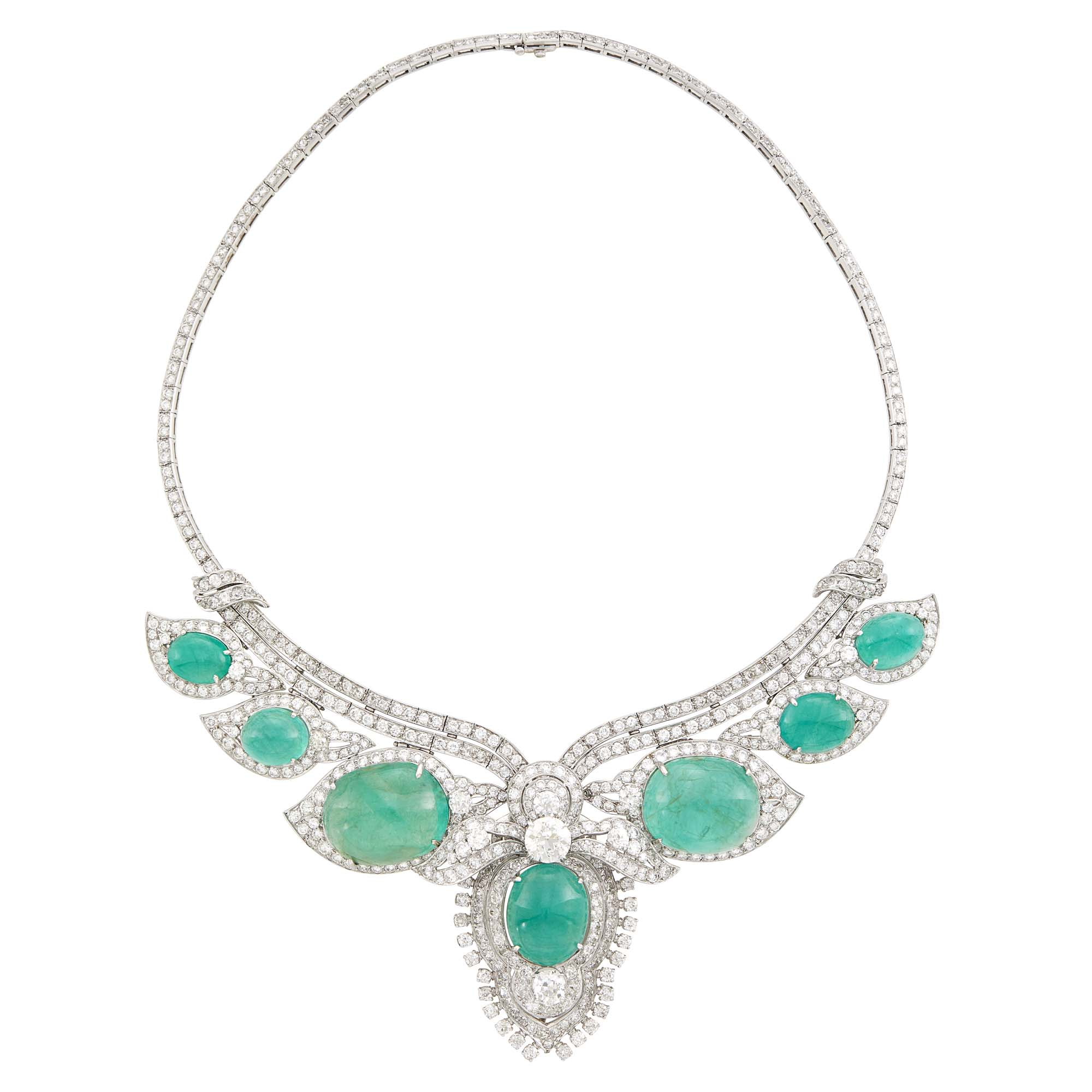 Lot image - Platinum, Cabochon Emerald and Diamond Pendant Clip-Brooch Necklace