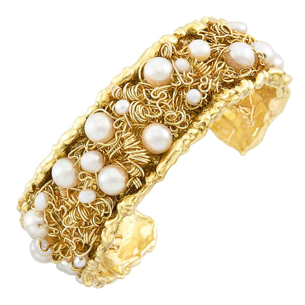 Lot image - Gold and Cultured Pearl Cuff Bangle Bracelet, Nikki Feldbaum