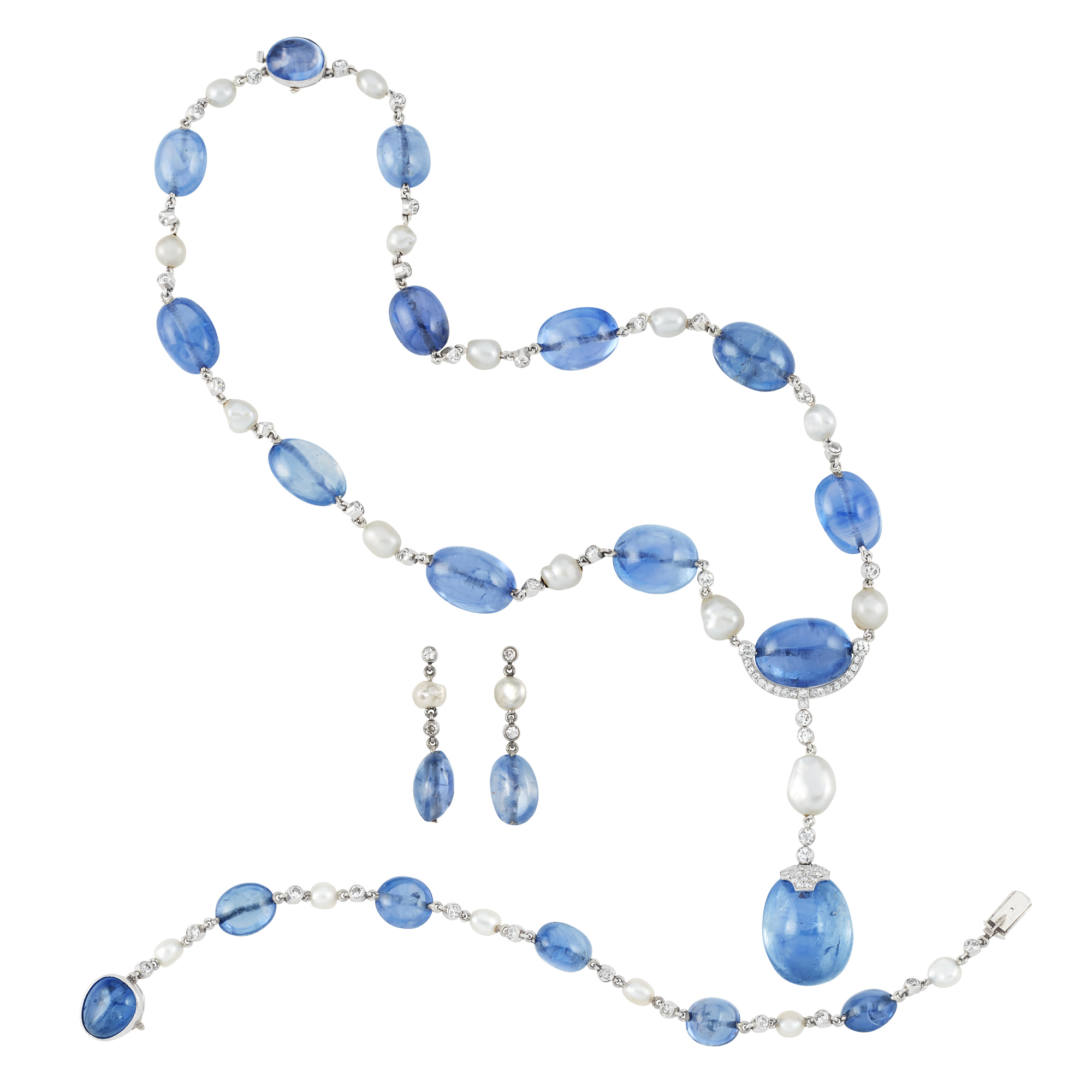 Lot image - Art Deco Platinum, Sapphire Bead, Diamond and Pearl Pendant Necklace, Bracelet and Pair of Pendant Earrings