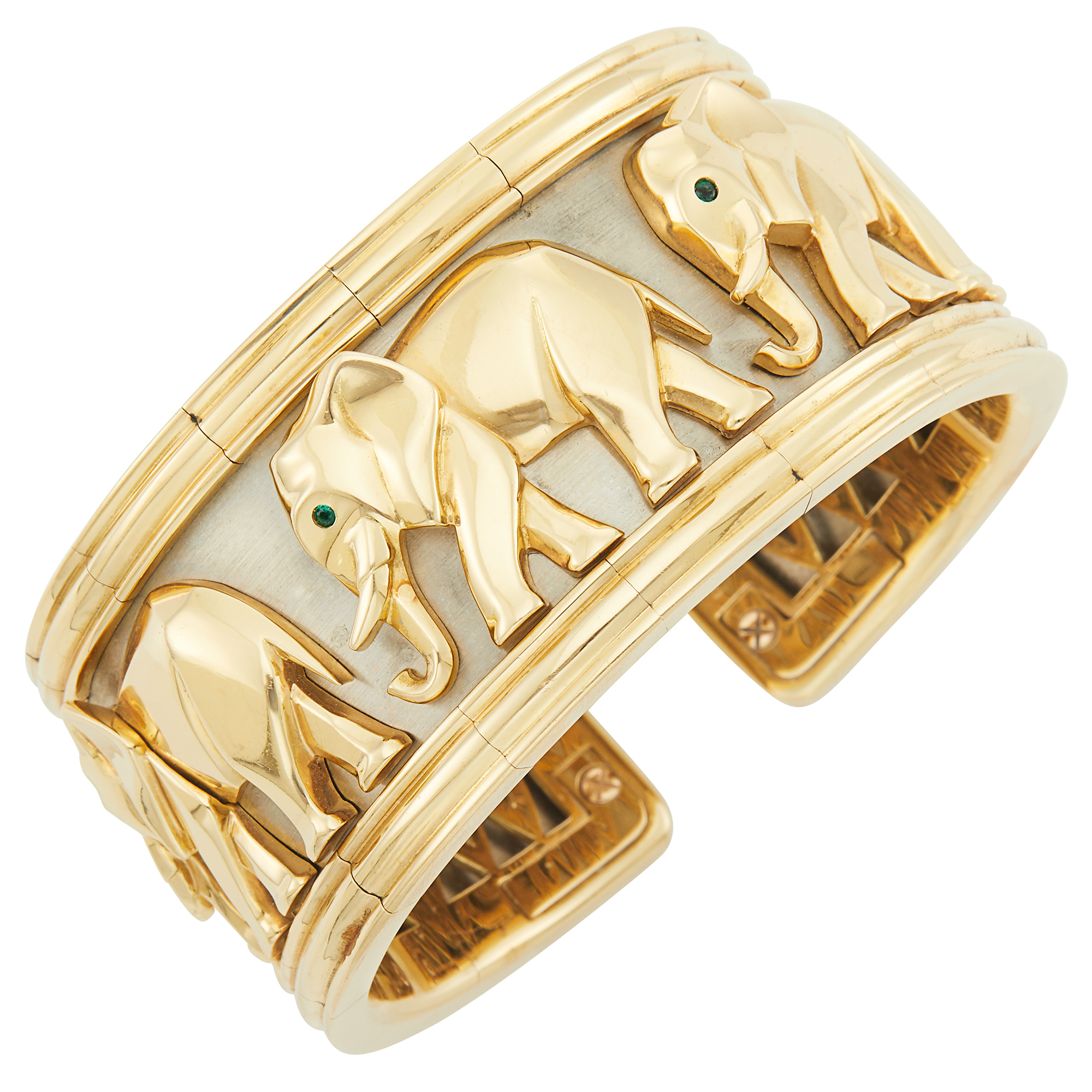 Lot image - Two-Color Gold and Emerald Elephant Cuff Bangle Bracelet, Cartier, France