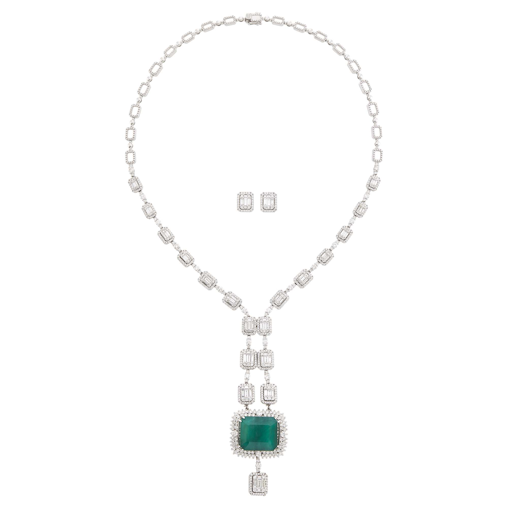 Lot image - White Gold, Emerald and Diamond Pendant-Necklace and Pair of Diamond Earrings