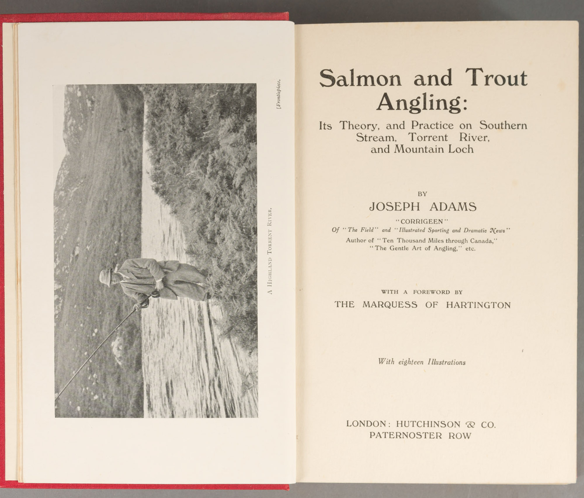 Lot image - ADAMS, JOSEPH  Salmon and Trout Angling: Its Theory, and Practice on Southern Stream, Torrent River, and Mountain Loch.