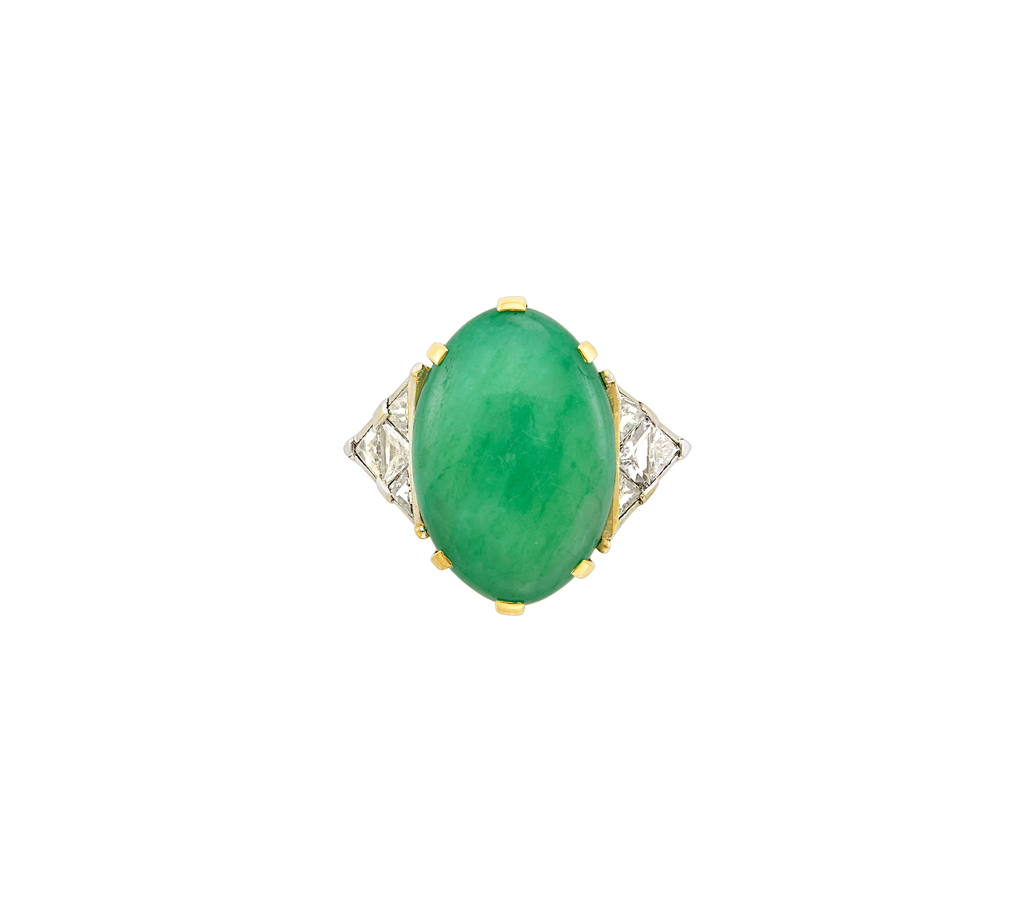 Lot image - Gold, Platinum, Jade and Diamond Ring, France