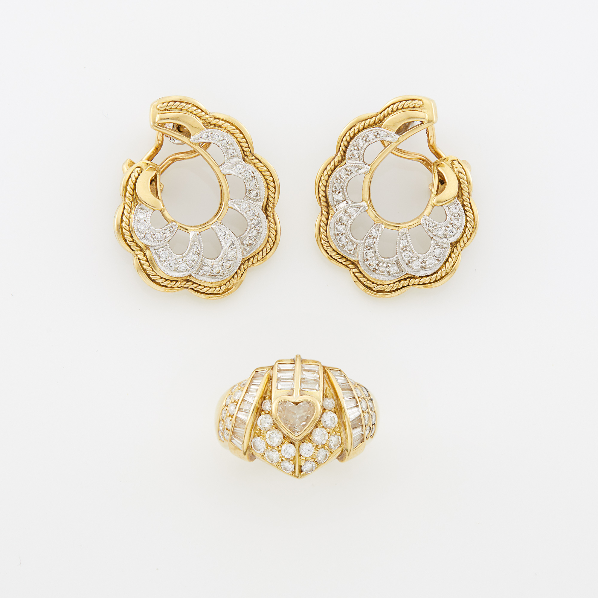 Lot image - Pair of Two-Color Gold and Diamond Earclips and Gold and Diamond Ring