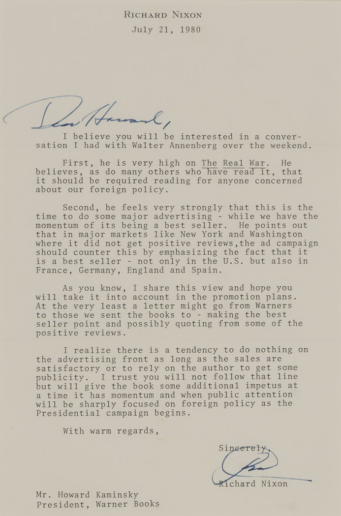 Lot image - NIXON, RICHARD  Signed copy of The Real War with a related signed letter.