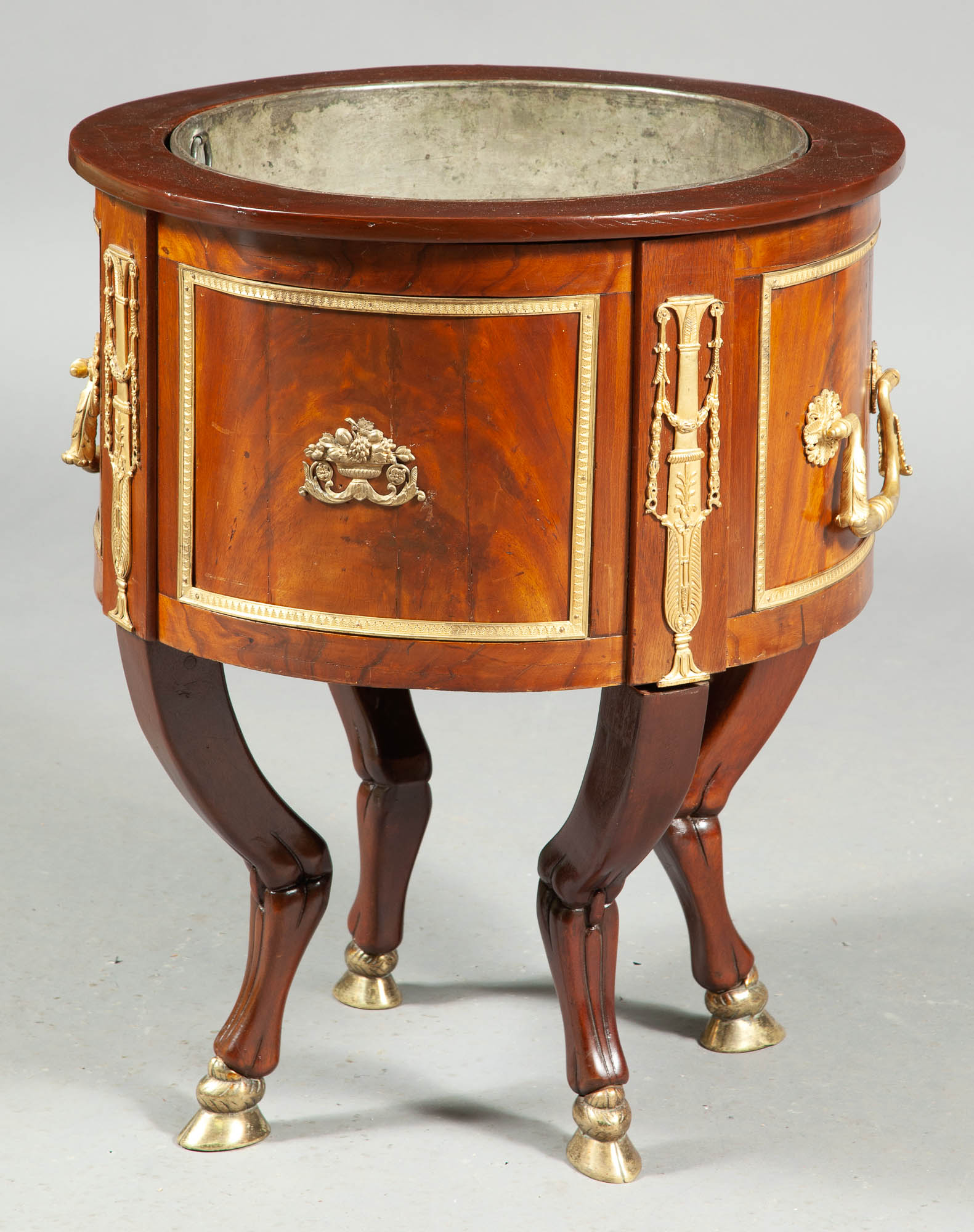 Lot image - Empire Gilt-Metal-Mounted Mahogany Wine Cooler