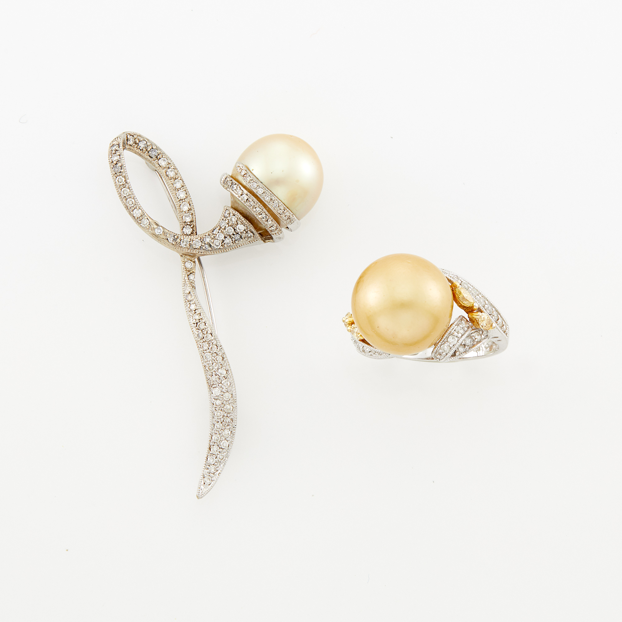 Lot image - White Gold, Golden Cultured Pearl Brooch and Ring