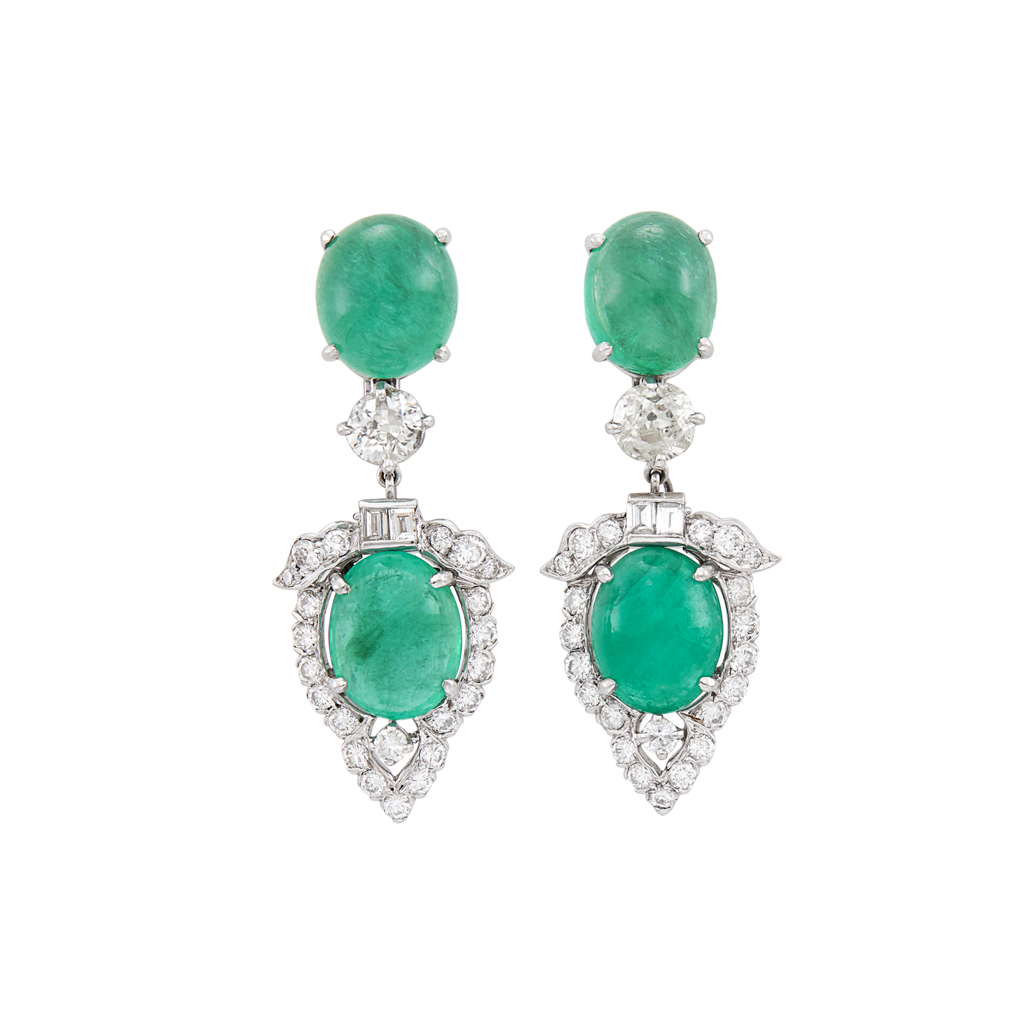Lot image - Pair of Platinum, Cabochon Emerald and Diamond Pendant-Earclips