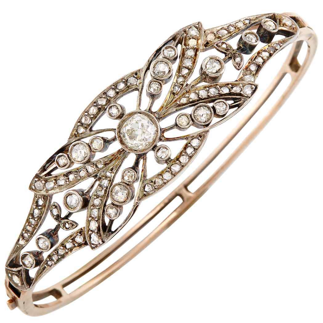 Lot image - Antique Silver, Gold and Diamond Bangle Bracelet