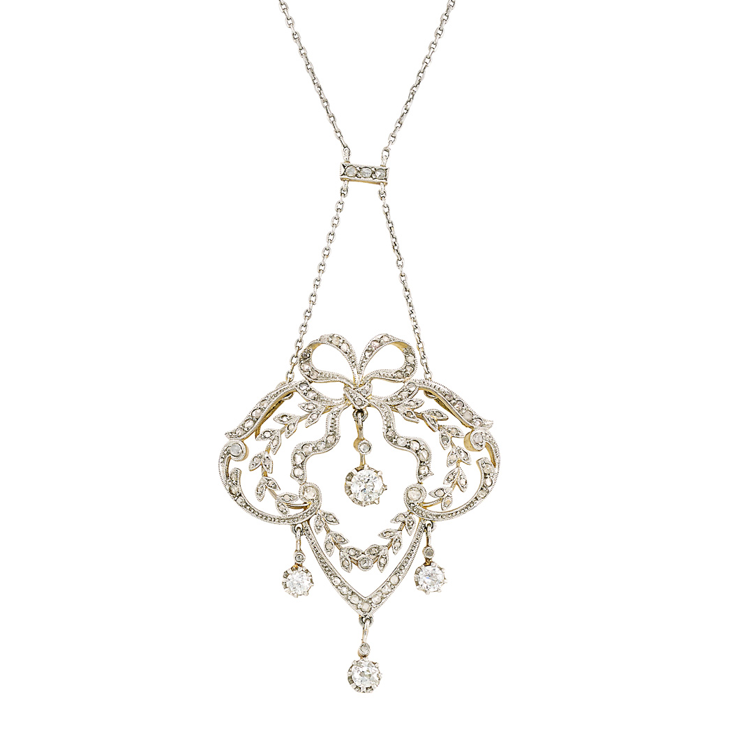 Lot image - Belle Époque Platinum-Topped Gold and Diamond Pendant with Platinum and Diamond Chain