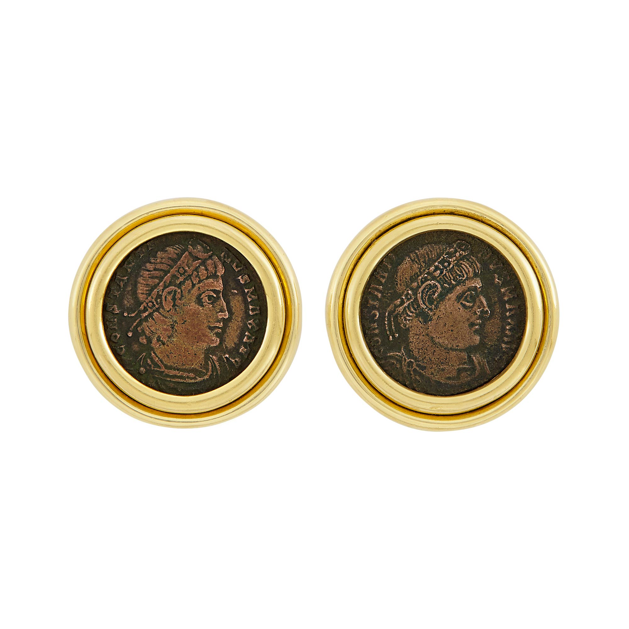 Lot image - Pair of Gold and Bronze Coin Earrings, Bulgari