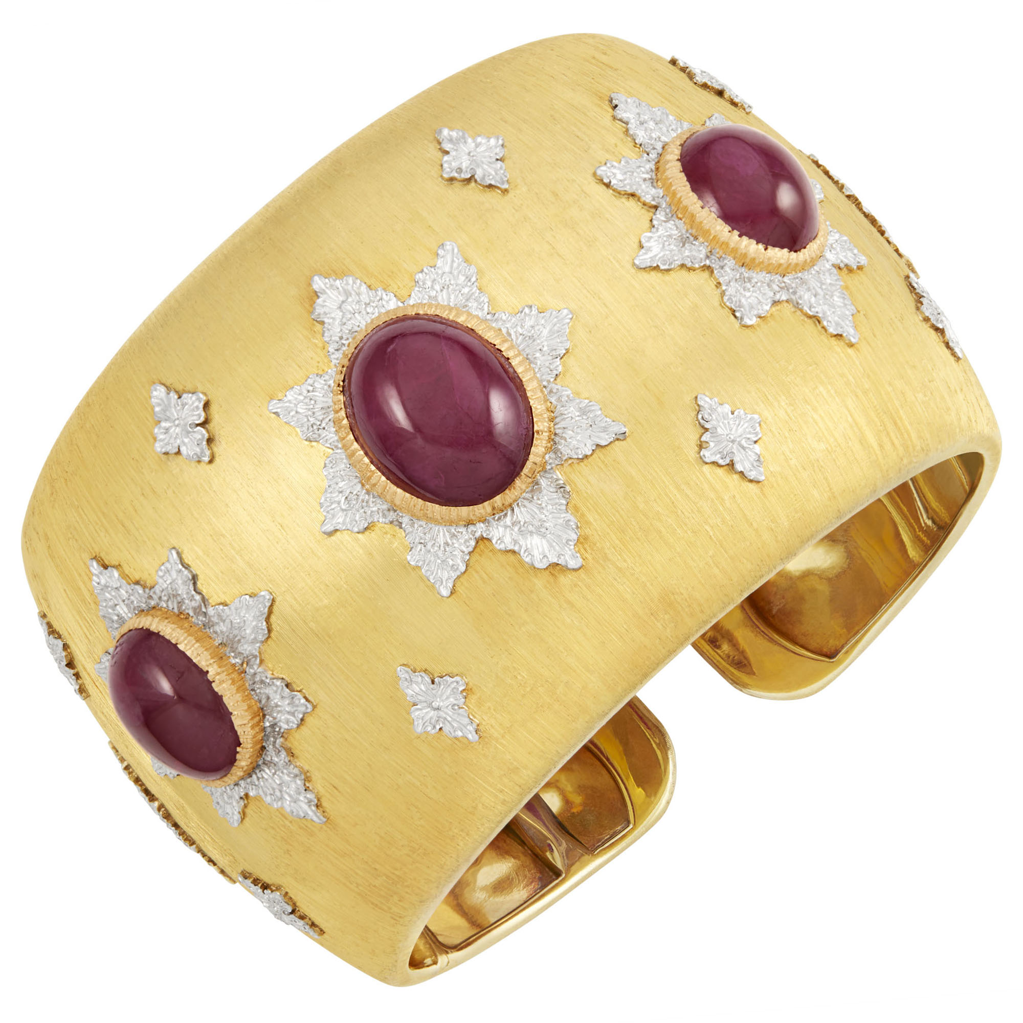 Lot image - Gold and Cabochon Ruby Cuff Bracelet, Buccellati