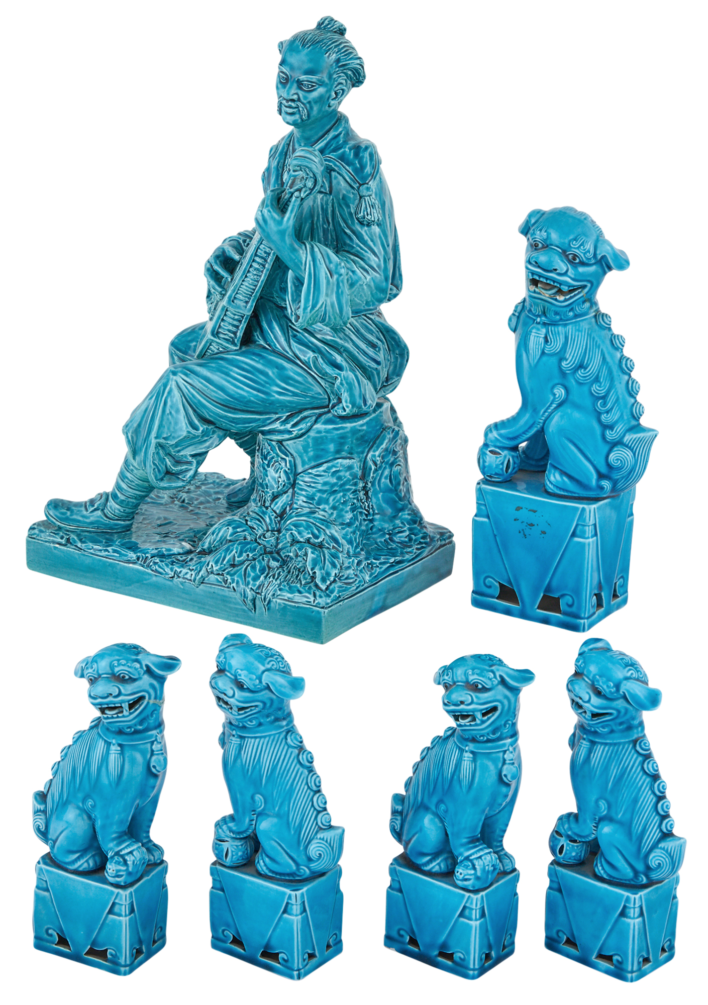 Lot image - Group of Turquoise Glazed Ceramic Figures