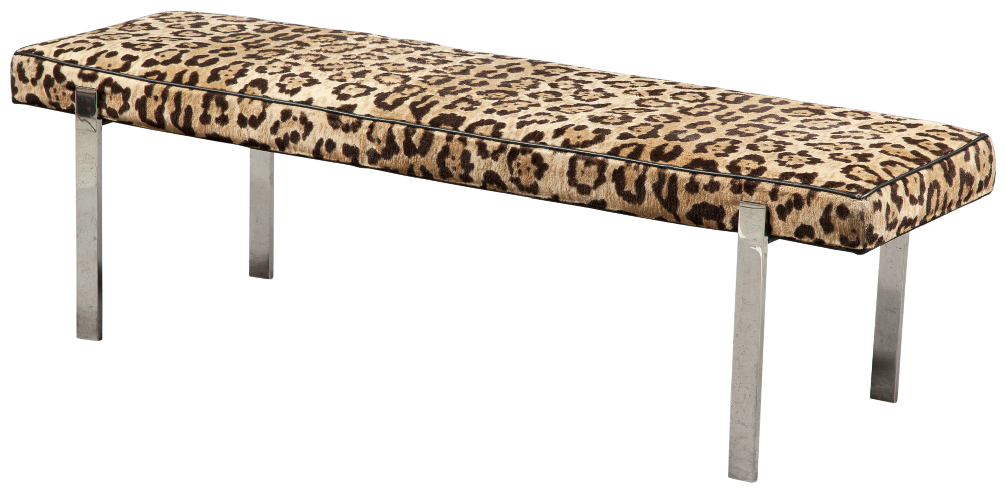 Lot image - Leopard Print Upholstered Chrome Bench