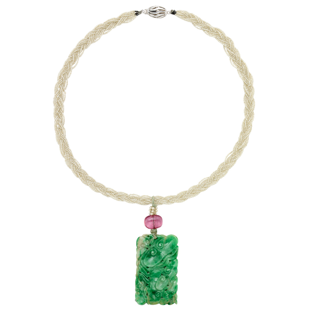 Lot image - Braided Seed Pearl, White Gold, Carved Jade and Pink Tourmaline Bead  Pendant-Necklace