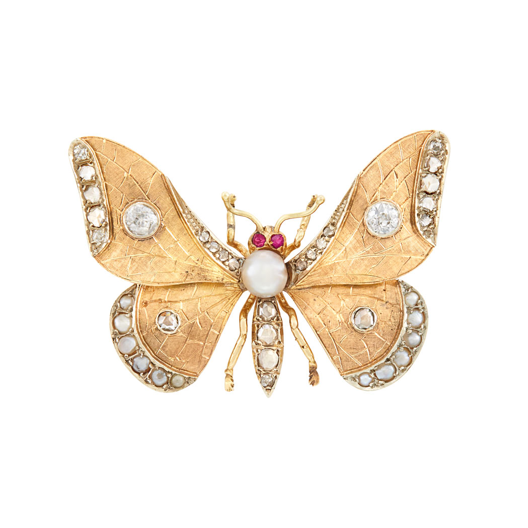 Lot image - Antique Two-Color Gold, Diamond, Button and Split Pearl and Ruby Butterfly Brooch