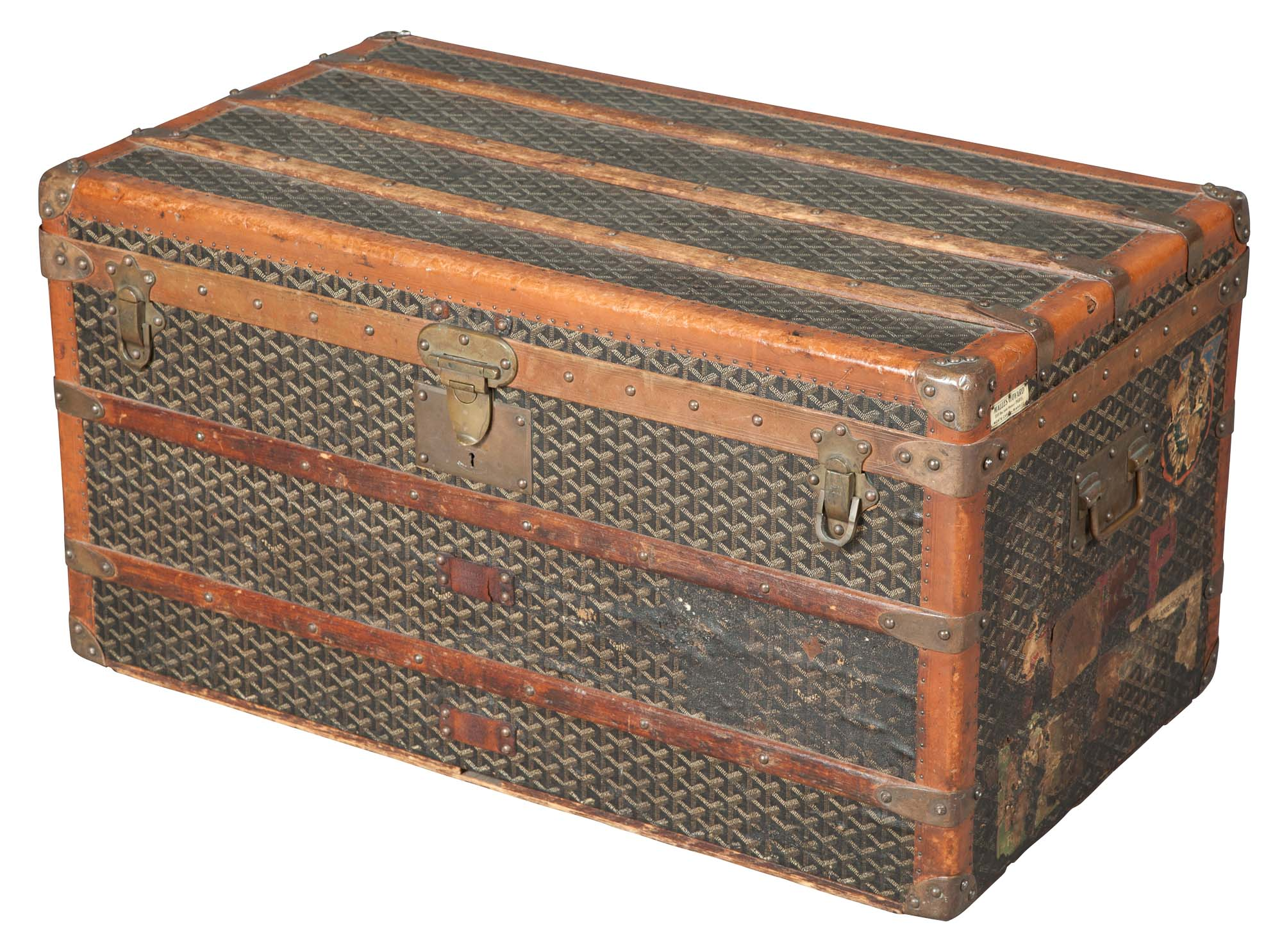 Lot image - French Canvas-Covered Steamer Trunk by Malles Goyard