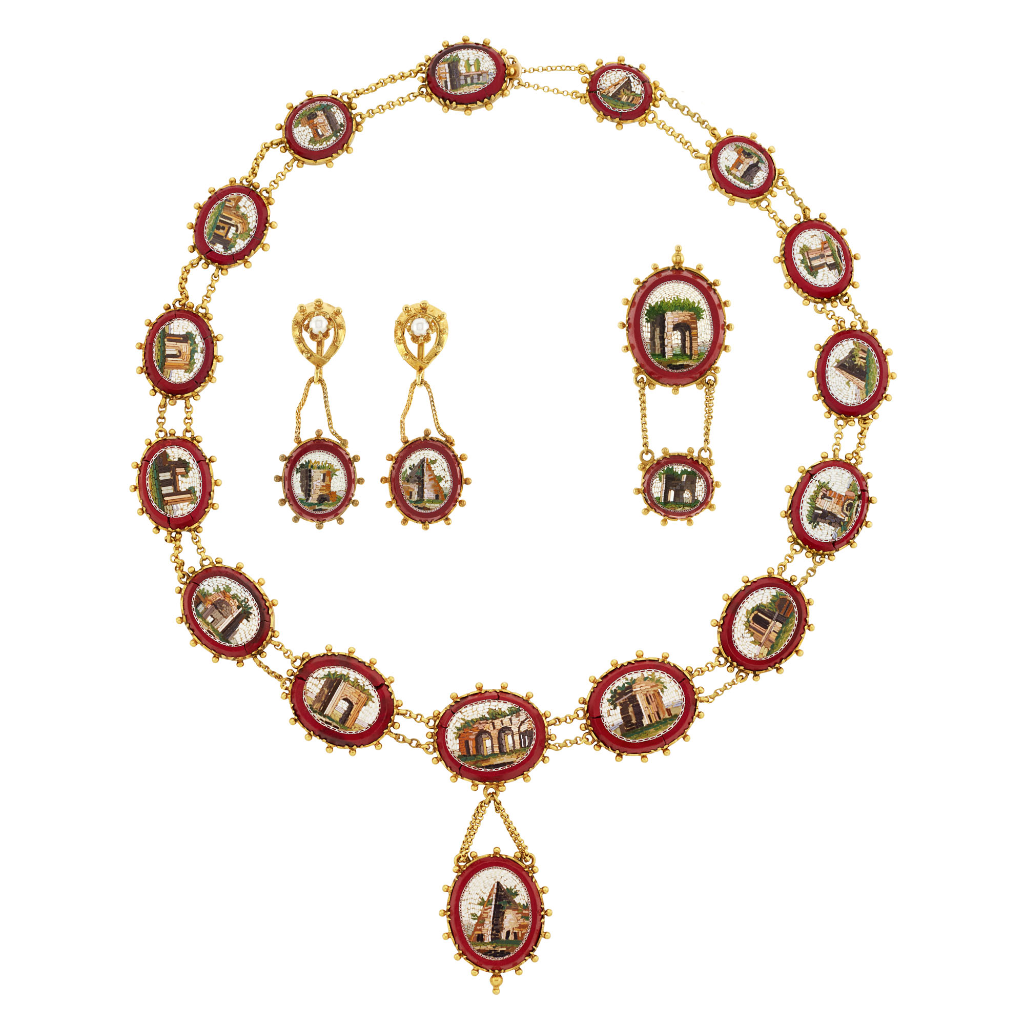Lot image - Suite of Antique Gold, Micromosaic and Seed Pearl Jewelry