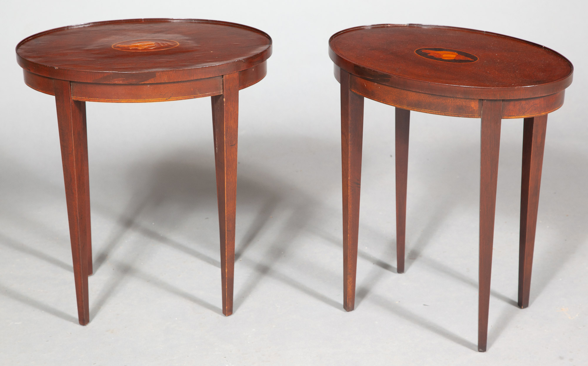 Lot image - Near Pair of George III Style Inlaid Mahogany Occasional Tables by Baker