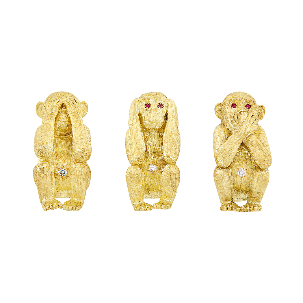 Lot image - Three Gold, Ruby and Diamond 'See No Evil, Hear No Evil, Speak No Evil' Monkey Pins