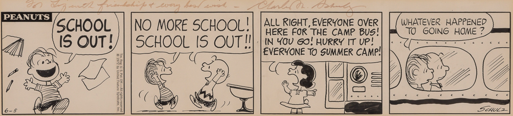 Lot image - [ILLUSTRATION ART]  SCHULZ, CHARLES. Original drawing for a Peanuts four-panel strip