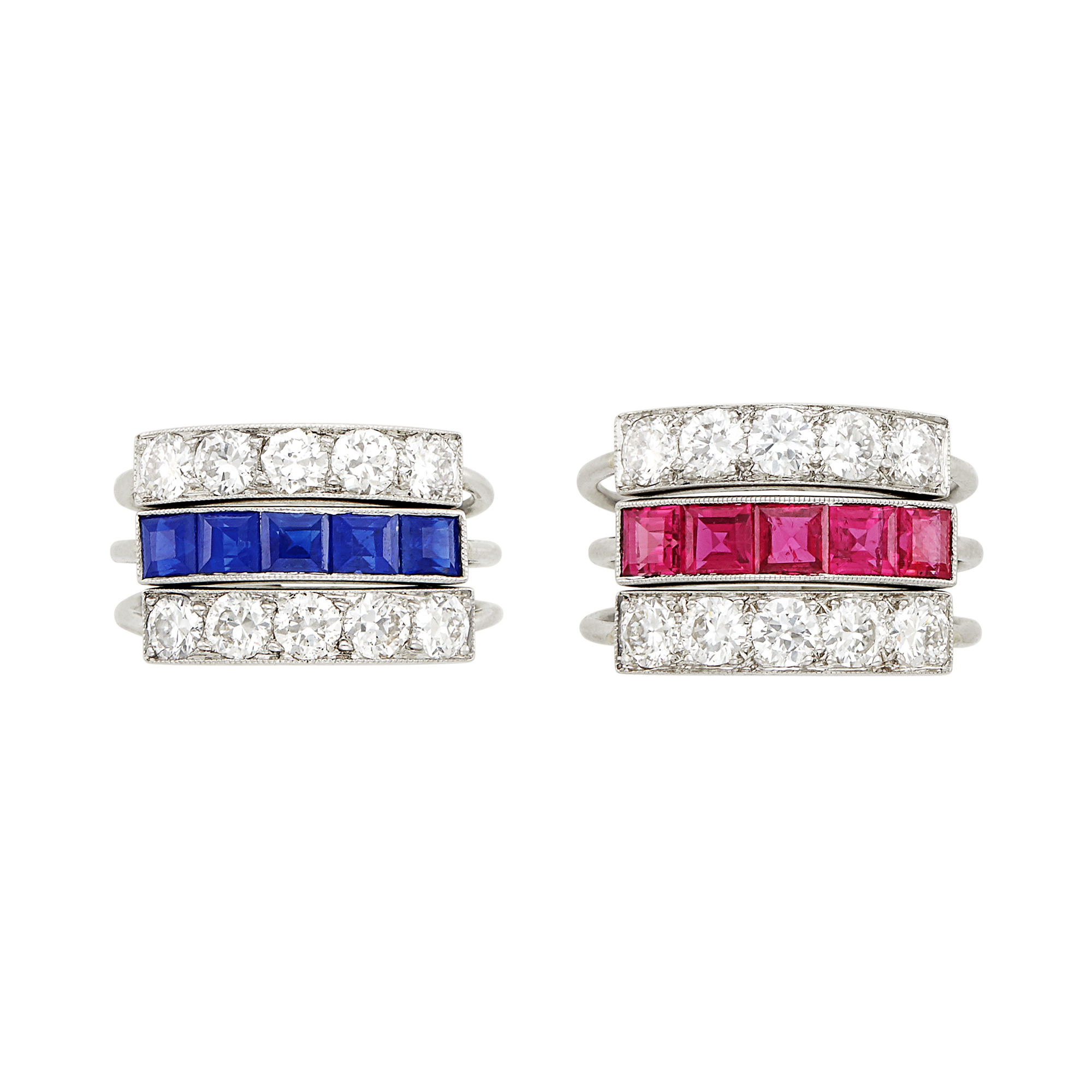 Lot image - Pair of Platinum, Ruby, Sapphire and Diamond Pinky Rings, J.E. Caldwell