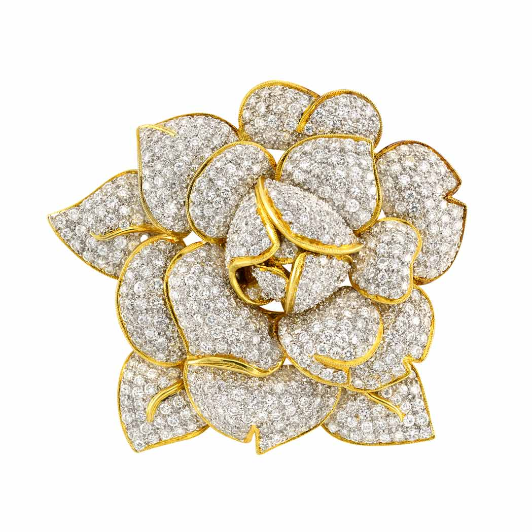 Lot image - Two-Color Gold, Diamond and South Sea Cultured Pearl Flower Clip-Brooch