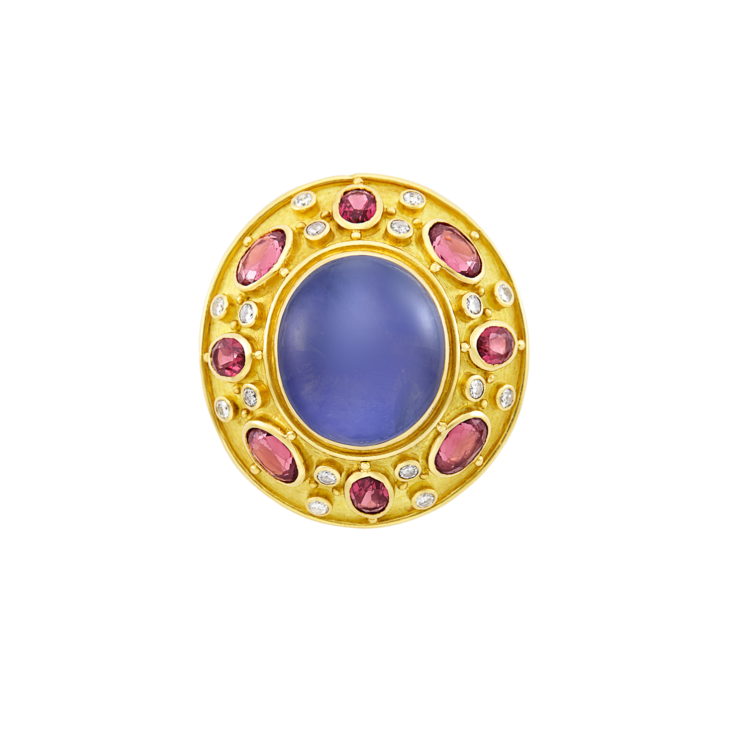 Lot image - Gold, Star Sapphire, Garnet and Diamond Ring, Elizabeth Gage