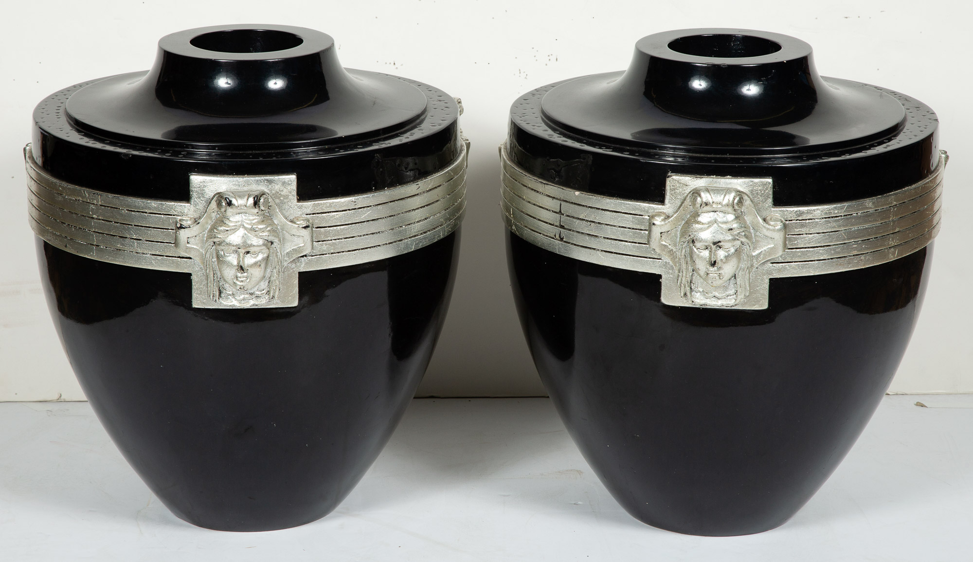 Lot image - Pair of Black Lacquered and Silver Painted Composition Vases