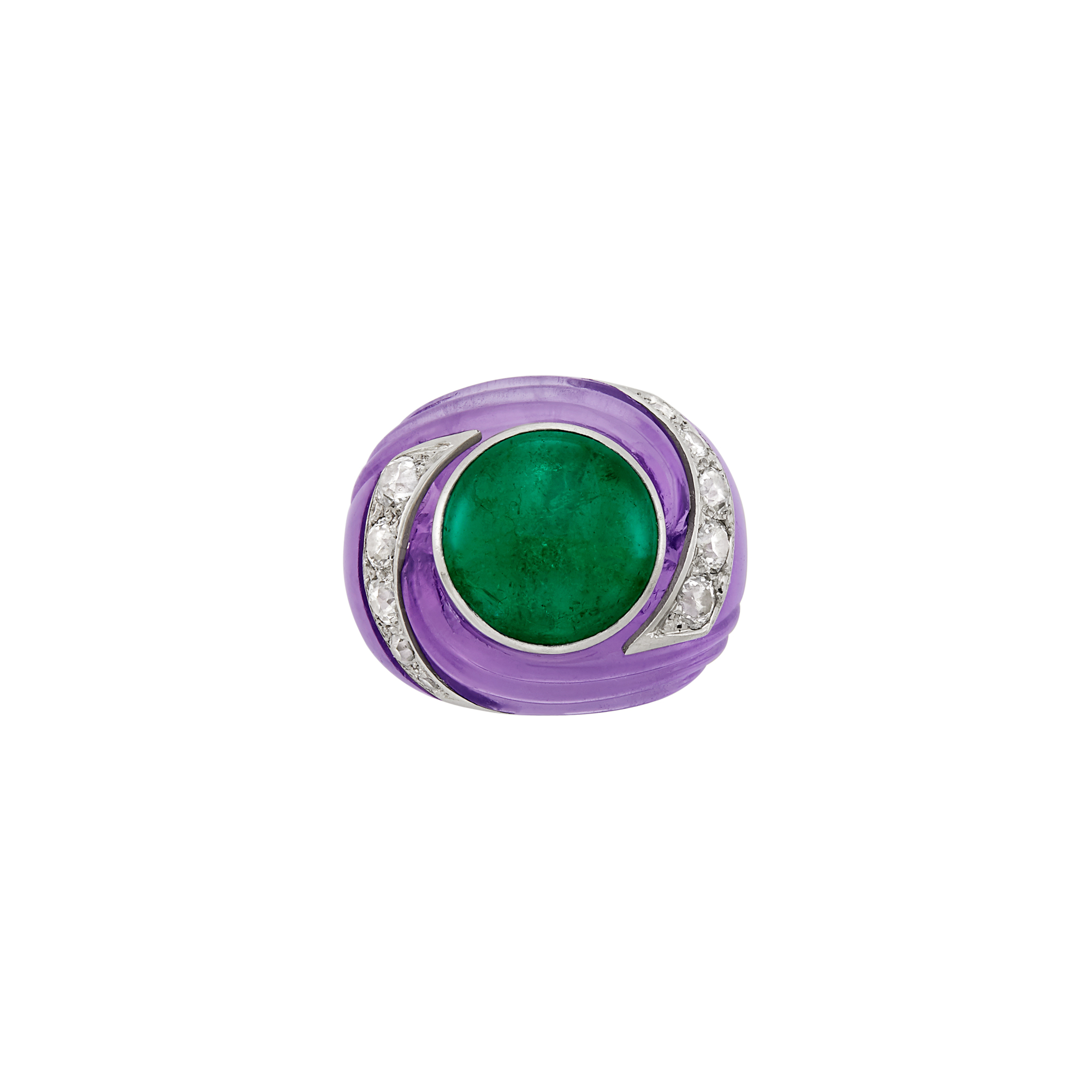 Lot image - Carved Amethyst, Cabochon Emerald, Platinum and Diamond Tourbillon Ring, Suzanne Belperron