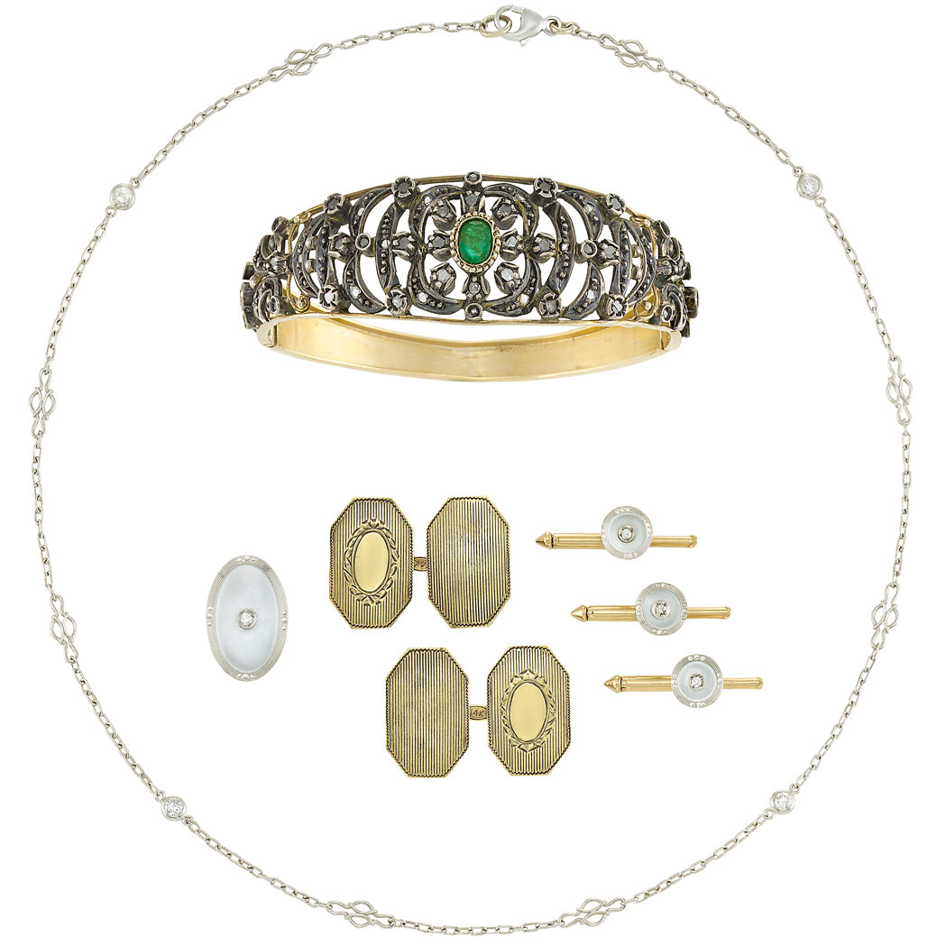 Lot image - Group of Gold, Silver, Platinum, Diamond, Emerald and Mother-of-Pearl Jewelry