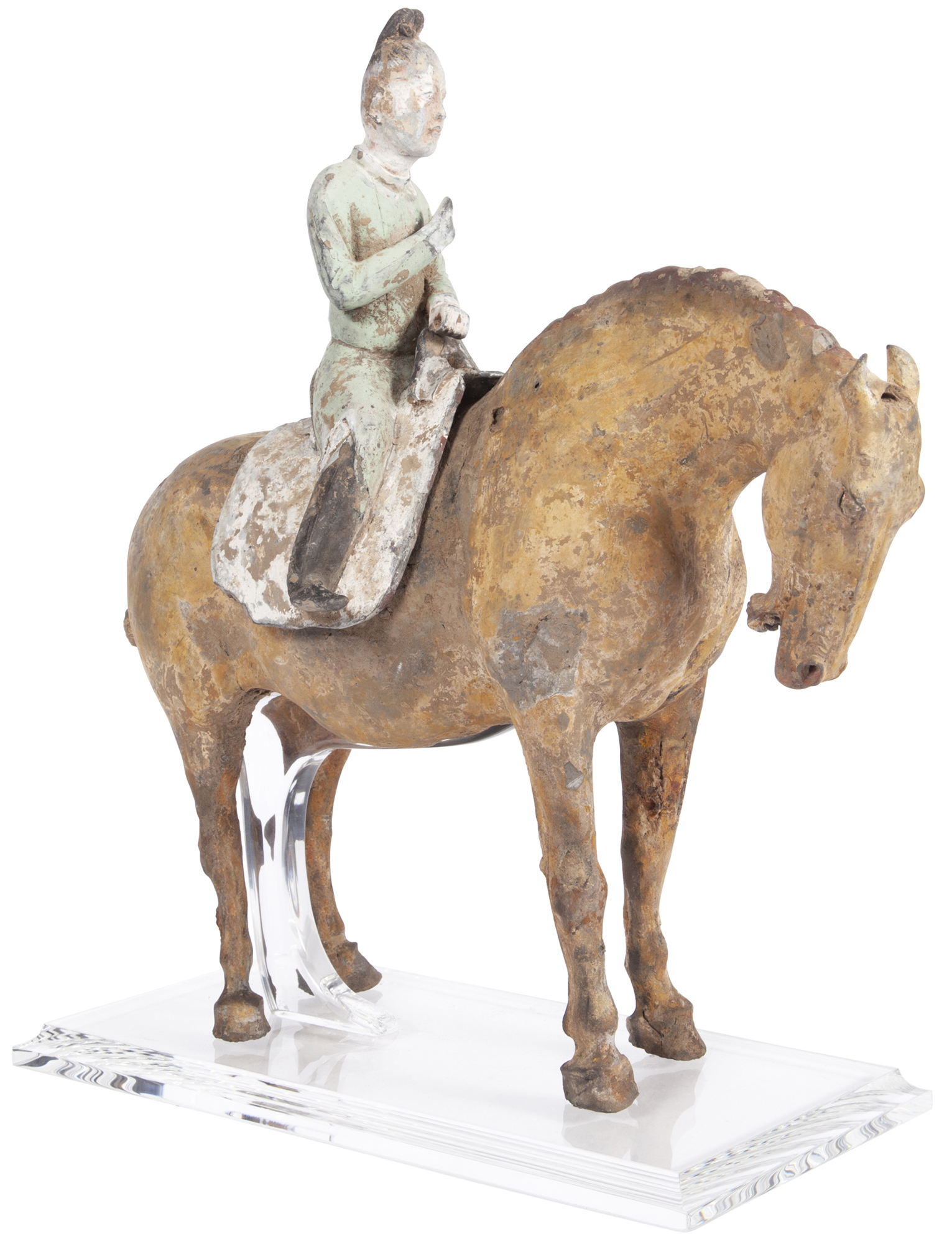Lot image - Chinese Painted Pottery Figure of a Mounted Horse