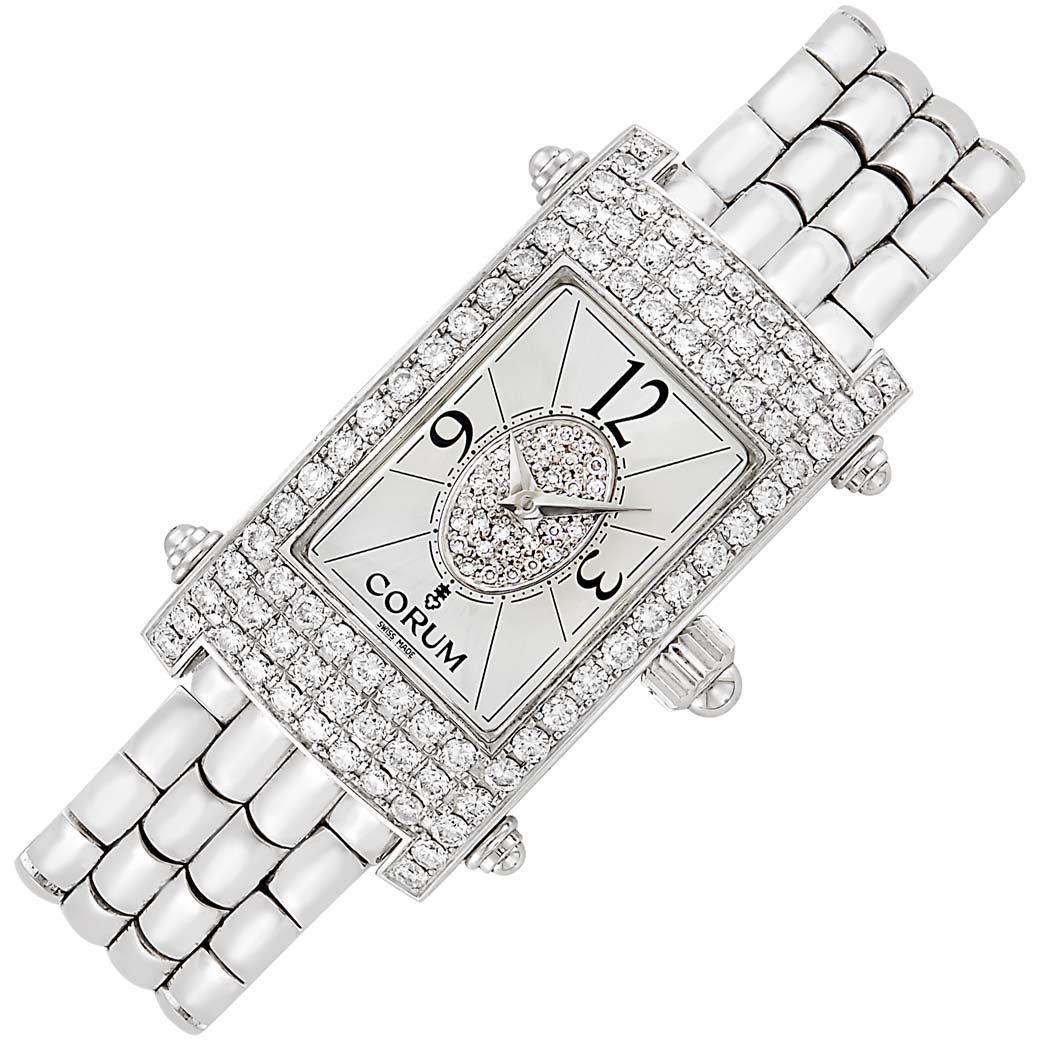 Lot image - White Gold and Diamond Wristwatch, Corum