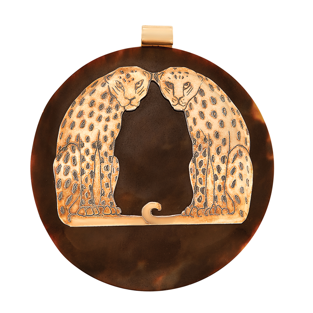 Lot image - Tortoise Shell and Rose Gold Panther Pendant, Celia Sebiri