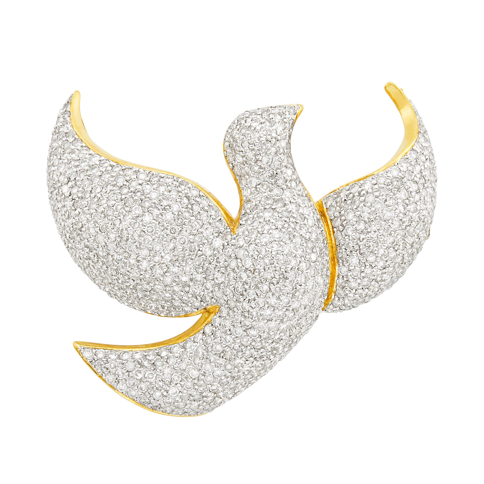 Lot image - Two-Color Gold and Diamond Bird Pendant-Brooch