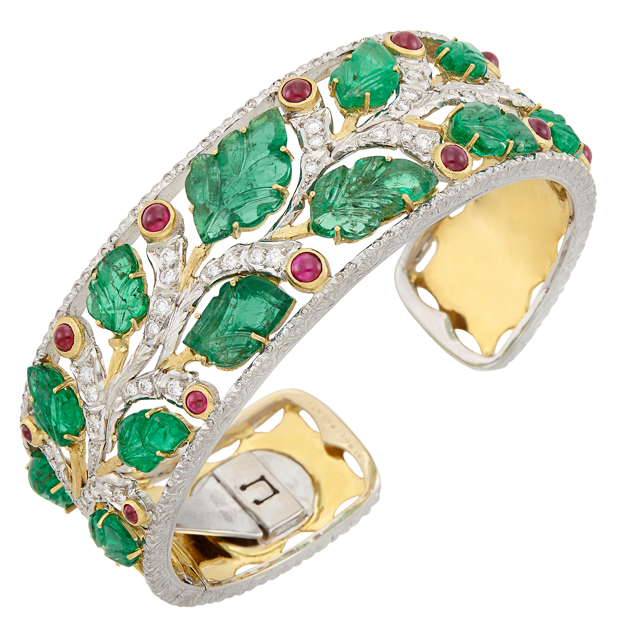 Lot image - Two-Color Gold, Carved Emerald, Cabochon Ruby and Diamond Bangle Bracelet
