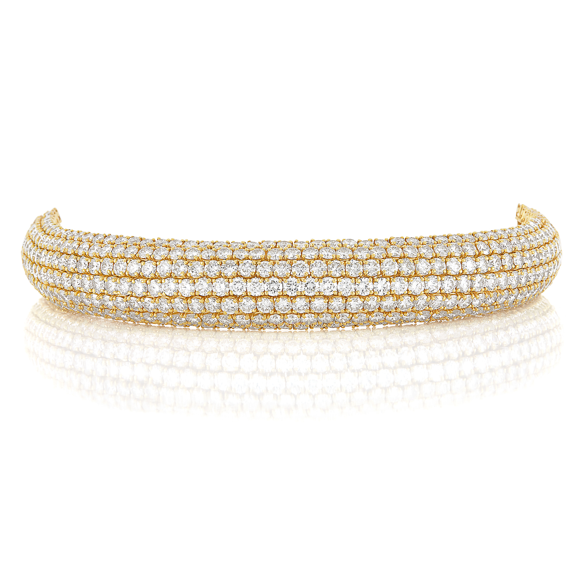 Lot image - Gold and Diamond Bombé Bracelet, Boucheron, Paris