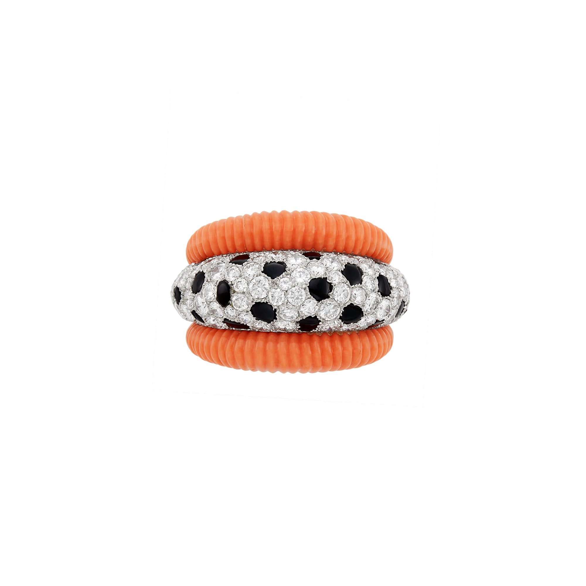Lot image - Platinum, Fluted Coral, Black Onyx and Diamond Bombé Ring, Cartier