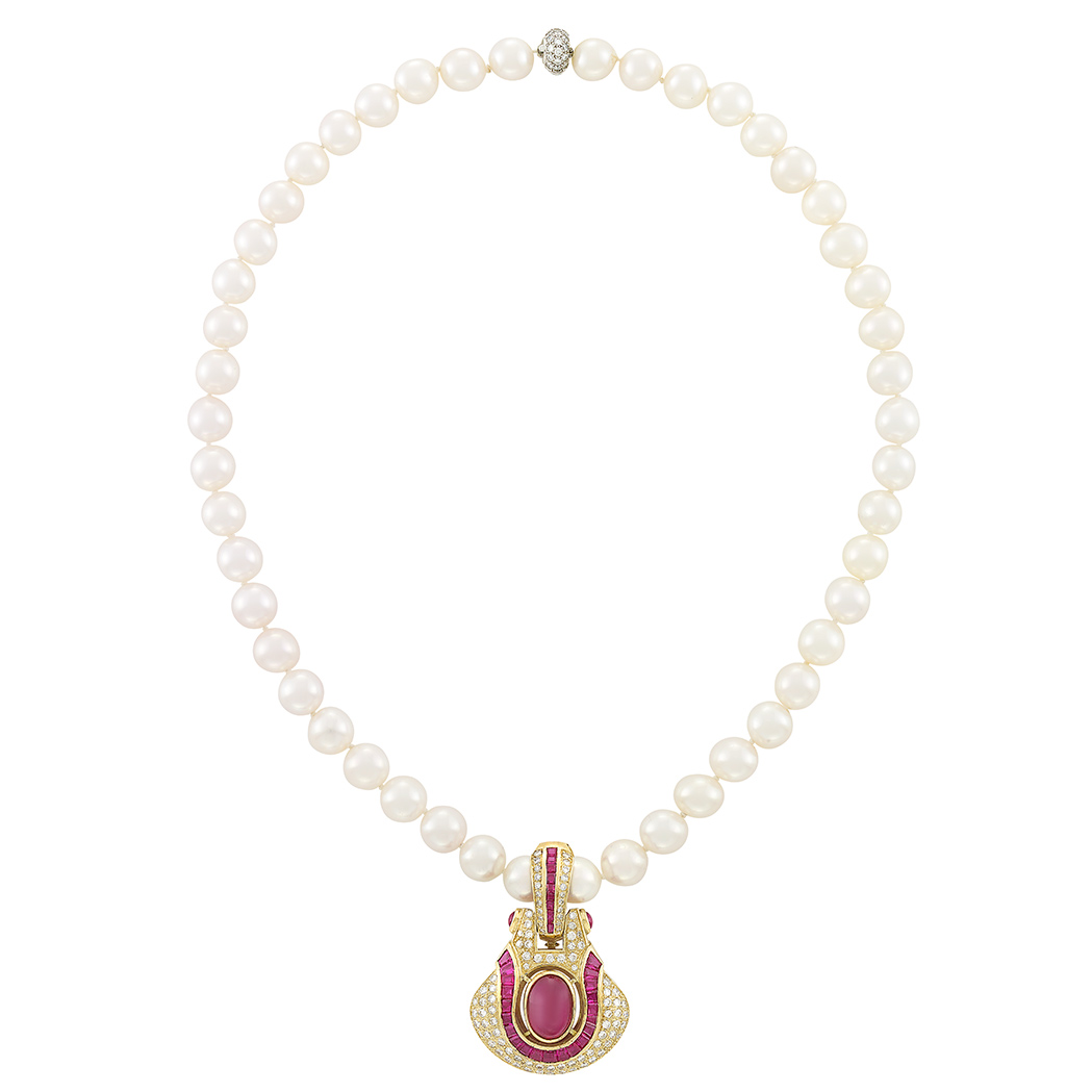 Lot image - Cultured Pearl Necklace with Platinum and Diamond Clasp, Tiffany & Co., with Gold, Ruby and Diamond Enhancer