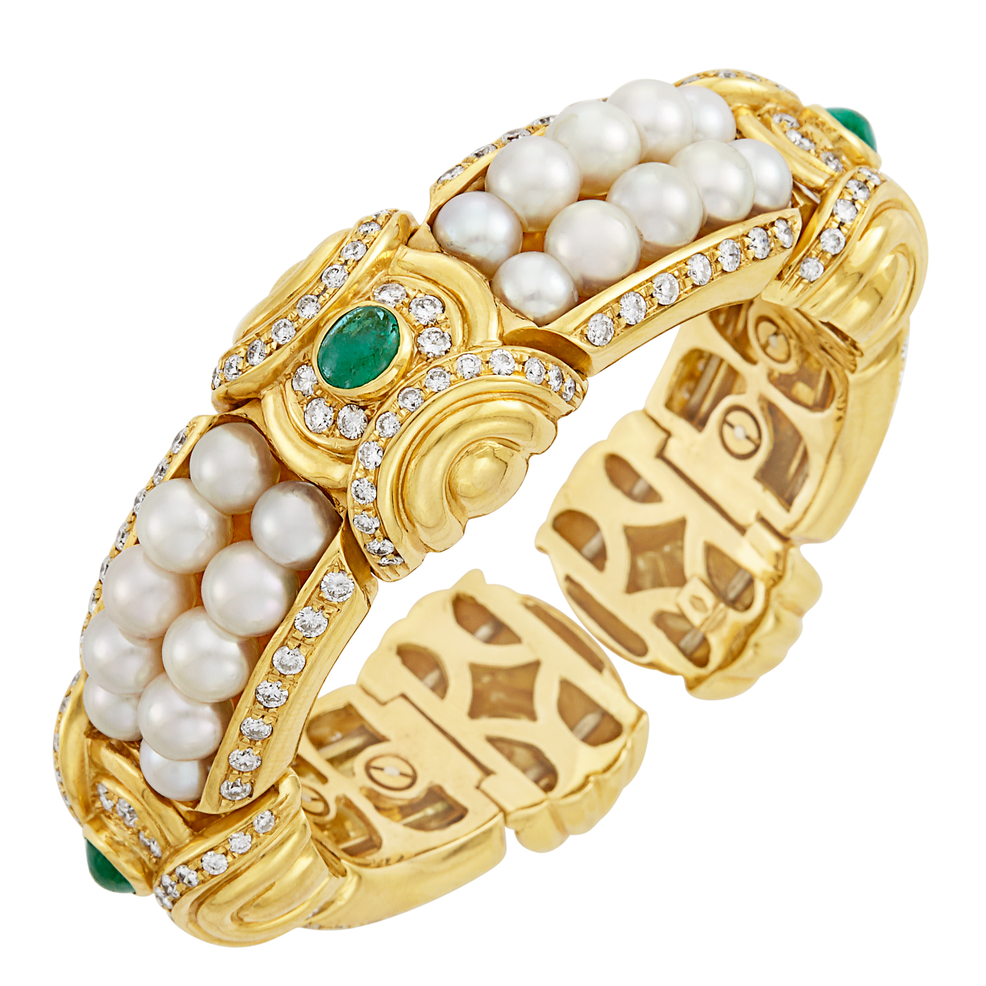 Lot image - Gold, Cultured Pearl, Cabochon Emerald and Diamond Bangle Bracelet