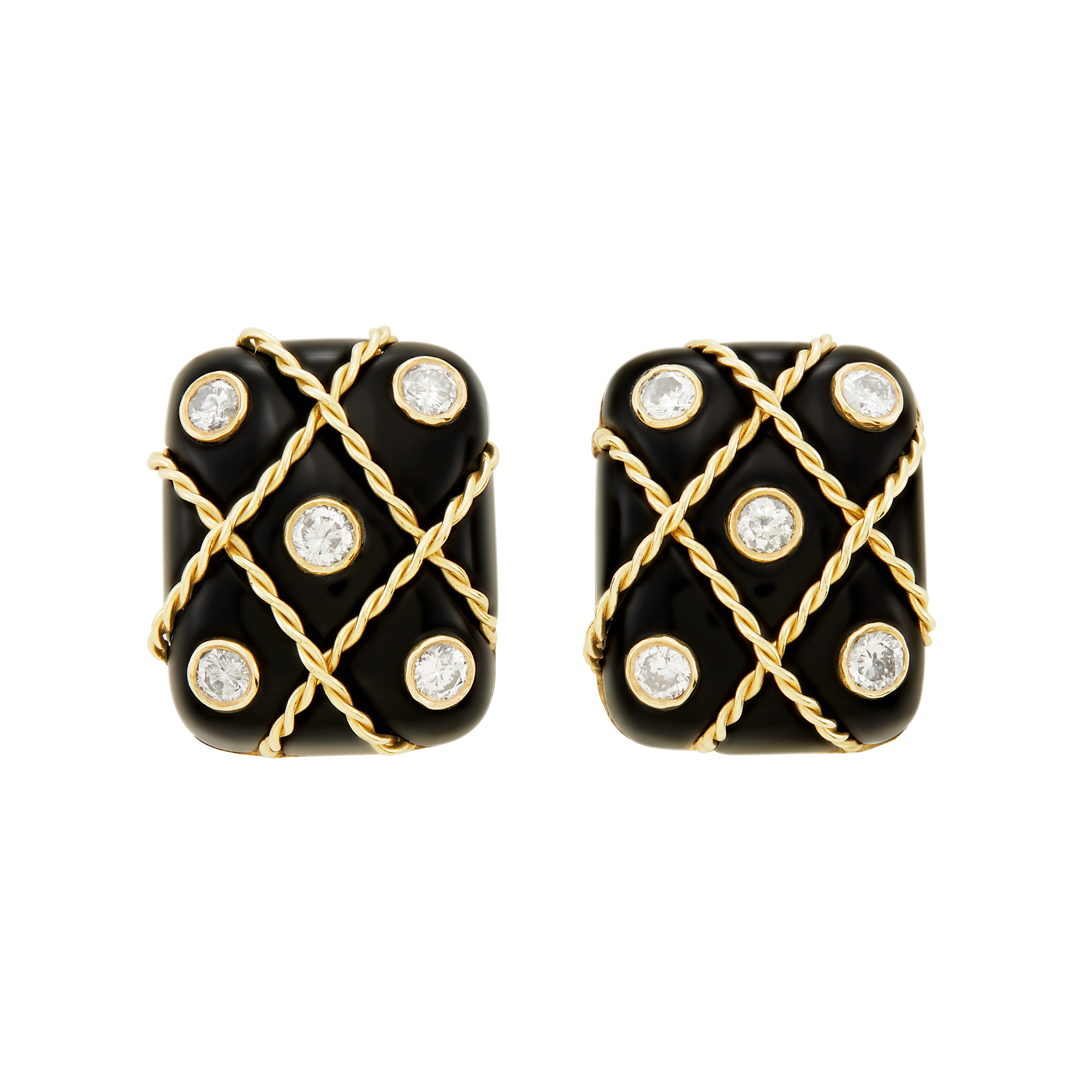Lot image - Pair of Gold, Black Onyx and Diamond Earclips