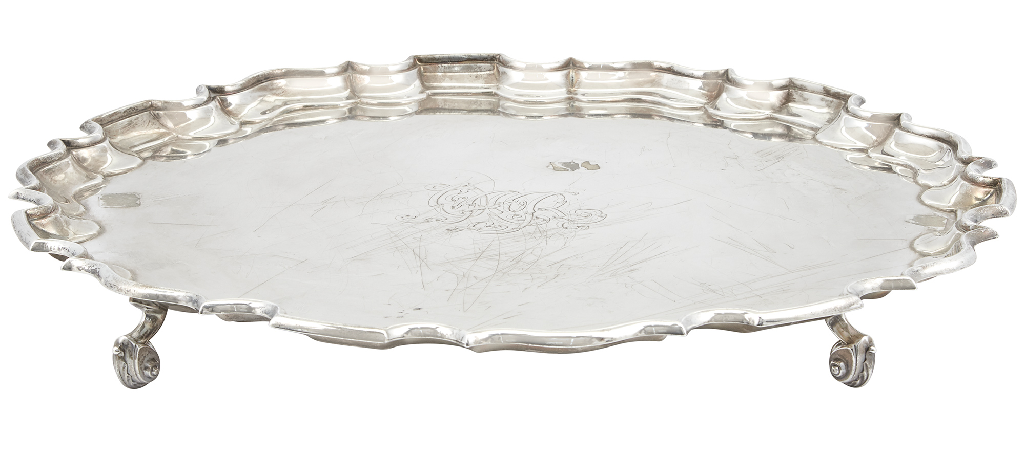 Lot image - English Sterling Silver Salver