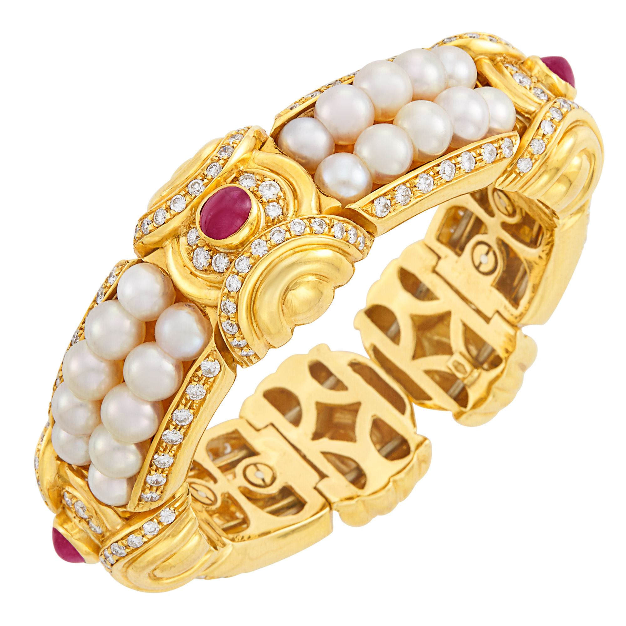 Lot image - Gold, Cultured Pearl, Cabochon Ruby and Diamond Bangle Bracelet